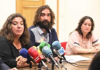 Proiektuaren arduradunak, María Silvestre, Braulio Gómez eta Iratxe Aristegi