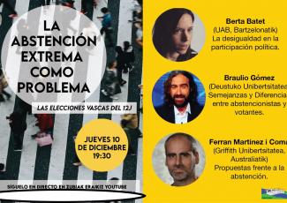 Charla online de Braulio Gómez sobre la abstención extrema como problema